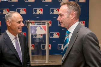 BONITA SPRINGS, FL. - FEBRUARY 19: Major League Baseball commissioner Rob Manfredd and Minnesota Twins manager Paul Molitor speak during the Grapefruit League Media Availability at the Hyatt Regency Coconut Point on Friday, February 19, 2016 in Bonita Springs, Florida. (Photo by Billie Weiss/MLB Photos via Getty Images)