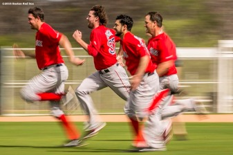 """""""Boston Red Sox pitcher Heath Hembree participates in a conditioning drill during a workout at JetBlue Park in Fort Myers, Florida Saturday, February 20, 2016."""""""