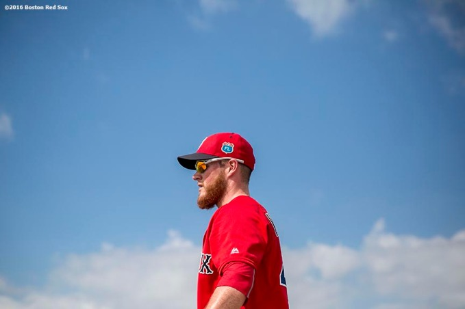 """Boston Red Sox pitcher Craig Kimbrel looks on during a workout at JetBlue Park in Fort Myers, Florida Saturday, February 20, 2016."""