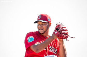 FT. MYERS, FL - FEBRUARY 21: Eduardo Rodriguez #52 of the Boston Red Sox pitches during a workout on February 21, 2016 at Fenway South in Fort Myers, Florida . (Photo by Billie Weiss/Boston Red Sox/Getty Images) *** Local Caption *** Eduardo Rodriguez