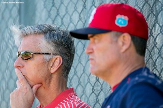 FT. MYERS, FL - FEBRUARY 21: President of Baseball Operations David Dombrowski and Manager John Farrell of the Boston Red Sox look on during a workout on February 21, 2016 at Fenway South in Fort Myers, Florida . (Photo by Billie Weiss/Boston Red Sox/Getty Images) *** Local Caption *** David Dombrowski; John Farrell