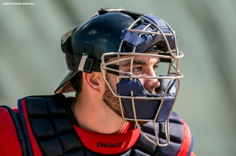 FT. MYERS, FL - FEBRUARY 21: Blake Swihart #23 of the Boston Red Sox participates in a catcher's drill during a workout on February 21, 2016 at Fenway South in Fort Myers, Florida . (Photo by Billie Weiss/Boston Red Sox/Getty Images) *** Local Caption *** Blake Swihart