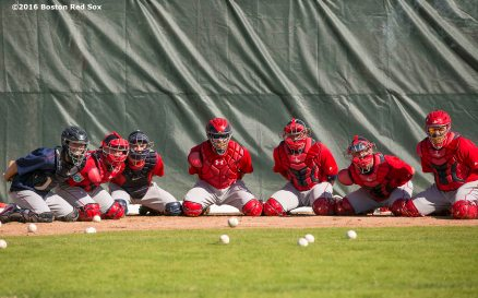 FT. MYERS, FL - FEBRUARY 21: The catching staff of the Boston Red Sox participate in a drill on February 21, 2016 at Fenway South in Fort Myers, Florida . (Photo by Billie Weiss/Boston Red Sox/Getty Images) *** Local Caption ***