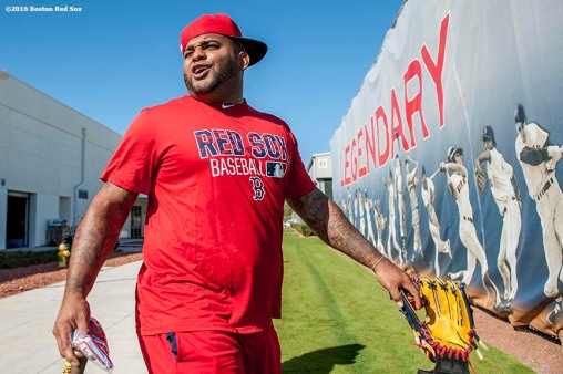 FT. MYERS, FL - FEBRUARY 21: Pablo Sandoval #48 of the Boston Red Sox walks toward the field during a workout on February 21, 2016 at Fenway South in Fort Myers, Florida . (Photo by Billie Weiss/Boston Red Sox/Getty Images) *** Local Caption *** Pablo Sandoval