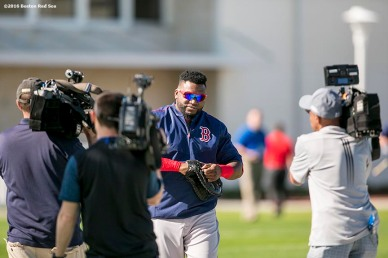 FT. MYERS, FL - FEBRUARY 22: David Ortiz #34 of the Boston Red Sox walks toward the field during a team workout on February 22, 2016 at Fenway South in Fort Myers, Florida . (Photo by Billie Weiss/Boston Red Sox/Getty Images) *** Local Caption *** David Ortiz