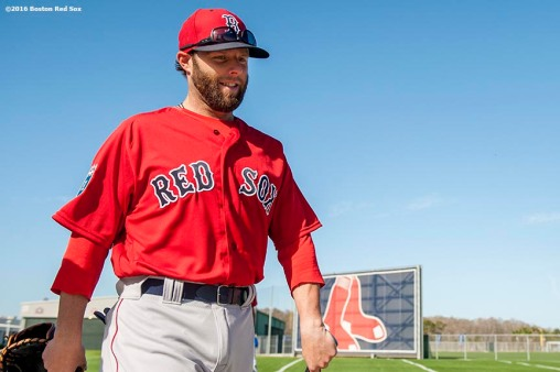 FT. MYERS, FL - FEBRUARY 22: Dustin Pedroia #15 of the Boston Red Sox walks toward the field during a team workout on February 22, 2016 at Fenway South in Fort Myers, Florida . (Photo by Billie Weiss/Boston Red Sox/Getty Images) *** Local Caption *** Dustin Pedroia