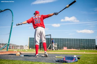 FT. MYERS, FL - FEBRUARY 22: Deven Marrero #16 of the Boston Red Sox takes batting practice during a team workout on February 22, 2016 at Fenway South in Fort Myers, Florida . (Photo by Billie Weiss/Boston Red Sox/Getty Images) *** Local Caption *** Deven Marrero