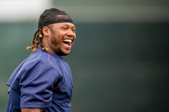 FT. MYERS, FL - FEBRUARY 23: Hanley Ramirez #13 of the Boston Red Sox reacts during a team workout on February 23, 2016 at Fenway South in Fort Myers, Florida . (Photo by Billie Weiss/Boston Red Sox/Getty Images) *** Local Caption *** Hanley Ramirez