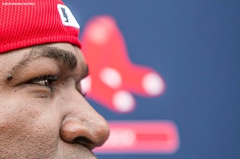 FT. MYERS, FL - FEBRUARY 23: David Ortiz #34 of the Boston Red Sox speaks to the media during a team workout on February 23, 2016 at Fenway South in Fort Myers, Florida . (Photo by Billie Weiss/Boston Red Sox/Getty Images) *** Local Caption *** David Ortiz