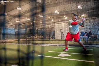 FT. MYERS, FL - FEBRUARY 23: Pablo Sandoval #48 of the Boston Red Sox takes batting practice in the batting cage during a team workout on February 23, 2016 at Fenway South in Fort Myers, Florida . (Photo by Billie Weiss/Boston Red Sox/Getty Images) *** Local Caption *** Pablo Sandoval