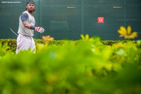 FT. MYERS, FL - FEBRUARY 23: Hanley Ramirez #13 of the Boston Red Sox exits the batting cage during a team workout on February 23, 2016 at Fenway South in Fort Myers, Florida . (Photo by Billie Weiss/Boston Red Sox/Getty Images) *** Local Caption *** Hanley Ramirez