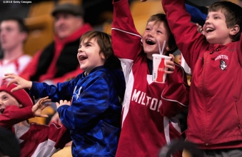 BOSTON, MA - FEBRUARY 08: Fans cheer during the Beanpot Tournament consolation game between Northeastern University and Harvard University at TD Garden on February 8, 2016 in Boston, Massachusetts. (Photo by Billie Weiss/Getty Images)