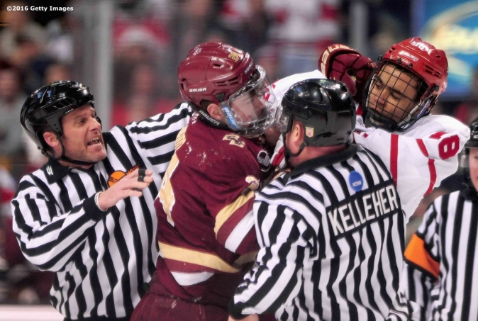 BOSTON, MA - FEBRUARY 08: Zach Sanford #24 of Boston College fights with Jordan Greenway #18 of Boston University during the first period of the Beanpot Tournament championship game at TD Garden on February 8, 2016 in Boston, Massachusetts. (Photo by Billie Weiss/Getty Images) *** Local Caption *** Zach Sanford;Jordan Greenway