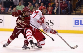 BOSTON, MA - FEBRUARY 08: Jordan Greenway #18 of Boston University during the third period of the Beanpot Tournament championship game against Boston College at TD Garden on February 8, 2016 in Boston, Massachusetts. (Photo by Billie Weiss/Getty Images) *** Local Caption *** Jordan Greenway