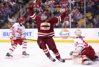 BOSTON, MA - FEBRUARY 08: Zach Sanford #24 of Boston College reacts after Alex Tuch #12 scored a game winning goal in overtime to defeat Boston University in the Beanpot Tournament championship game at TD Garden on February 8, 2016 in Boston, Massachusetts. (Photo by Billie Weiss/Getty Images) *** Local Caption *** Zach Sanford