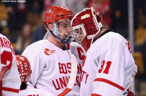 BOSTON, MA - FEBRUARY 08: Sean Maguire #31 of Boston University reacts after allowing the game winning goal in overtime during the Beanpot Tournament championship game against Boston College at TD Garden on February 8, 2016 in Boston, Massachusetts. (Photo by Billie Weiss/Getty Images) *** Local Caption *** Sean Maguire