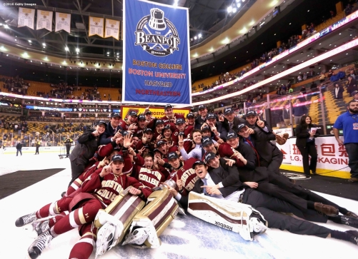 BOSTON, MA - FEBRUARY 08: Members of Boston College celebrate after defeating Boston University during the Beanpot Tournament championship game at TD Garden on February 8, 2016 in Boston, Massachusetts. (Photo by Billie Weiss/Getty Images)