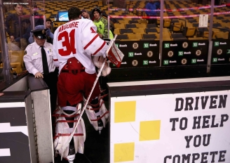 BOSTON, MA - FEBRUARY 08: Sean Maguire #31 of Boston University walks to the locker room following the Beanpot Tournament championship game against Boston College at TD Garden on February 8, 2016 in Boston, Massachusetts. (Photo by Billie Weiss/Getty Images) *** Local Caption *** Sean Maguire