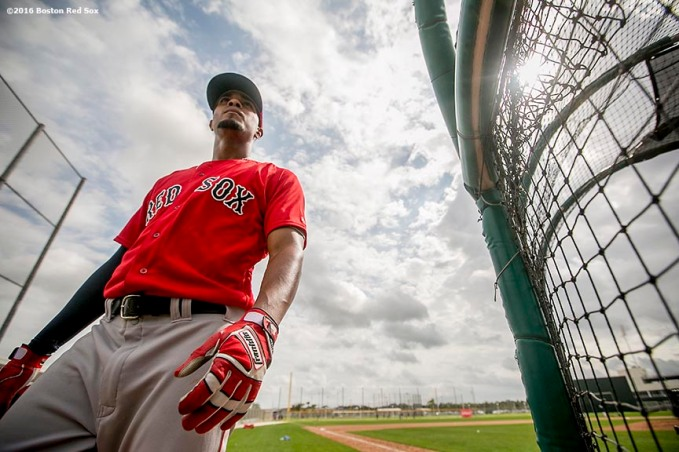 FT. MYERS, FL - FEBRUARY 24: Xander Bogaerts #2 of the Boston Red Sox takes batting practice during a team workout on February 24, 2016 at Fenway South in Fort Myers, Florida . (Photo by Billie Weiss/Boston Red Sox/Getty Images) *** Local Caption *** Xander Bogaerts