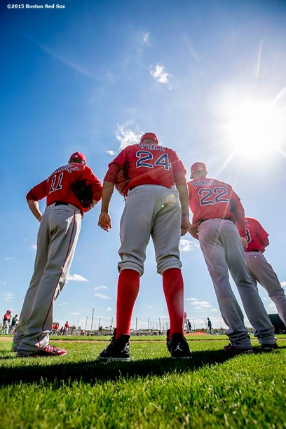 FT. MYERS, FL - FEBRUARY 25: Clay Buchholz #11, David Price #24, and Rick Porcello #22 of the Boston Red Sox look on during a team workout on February 25, 2016 at Fenway South in Fort Myers, Florida . (Photo by Billie Weiss/Boston Red Sox/Getty Images) *** Local Caption *** Rick Porcello; Clay Buchholz; David Price
