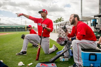 FT. MYERS, FL - FEBRUARY 26: Xander Bogaerts #2 and Dustin Pedroia #15 of the Boston Red Sox look on during a team workout on February 26, 2016 at Fenway South in Fort Myers, Florida . (Photo by Billie Weiss/Boston Red Sox/Getty Images) *** Local Caption *** Xander Bogaerts; Dustin Pedroia