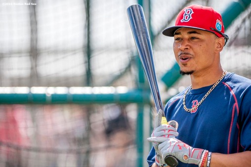 FT. MYERS, FL - FEBRUARY 26: Mookie Betts #50 of the Boston Red Sox looks on during a team workout on February 26, 2016 at Fenway South in Fort Myers, Florida . (Photo by Billie Weiss/Boston Red Sox/Getty Images) *** Local Caption *** Mookie Betts