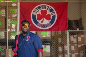 FT. MYERS, FL - FEBRUARY 27: David Ortiz #34 of the Boston Red Sox reacts during a team workout on February 27, 2016 at Fenway South in Fort Myers, Florida . (Photo by Billie Weiss/Boston Red Sox/Getty Images) *** Local Caption *** David Ortiz