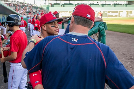 FT. MYERS, FL - FEBRUARY 29: Yoan Moncada #22 talks with manager John Farrell of the Boston Red Sox in an exhibition game against the Northeastern University Huskies on February 29, 2016 at jetBlue Park in Fort Myers, Florida . (Photo by Billie Weiss/Boston Red Sox/Getty Images) *** Local Caption *** Yoan Moncada; John Farrell