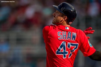 FT. MYERS, FL - FEBRUARY 29: Travis Shaw #47 of the Boston Red Sox bats in an exhibition game against the Northeastern University Huskies on February 29, 2016 at jetBlue Park in Fort Myers, Florida . (Photo by Billie Weiss/Boston Red Sox/Getty Images) *** Local Caption *** Travis Shaw