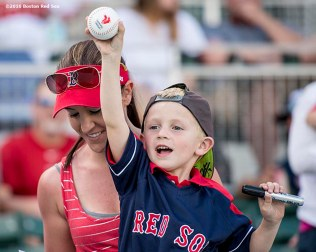 FT. MYERS, FL - FEBRUARY 29: A young fan reacts in an exhibition game between the Boston Red Sox and the Northeastern University Huskies on February 29, 2016 at jetBlue Park in Fort Myers, Florida . (Photo by Billie Weiss/Boston Red Sox/Getty Images) *** Local Caption ***