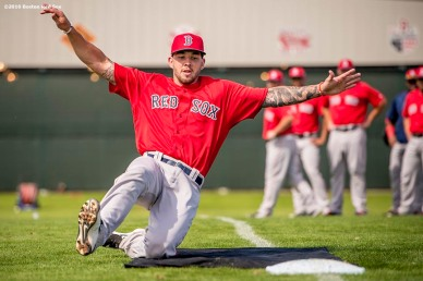 FT. MYERS, FL - MARCH 1: Blake Swihart #23 of the Boston Red Sox participates in a sliding drill during a team workout on March 1, 2016 at Fenway South in Fort Myers, Florida . (Photo by Billie Weiss/Boston Red Sox/Getty Images) *** Local Caption *** Blake Swihart