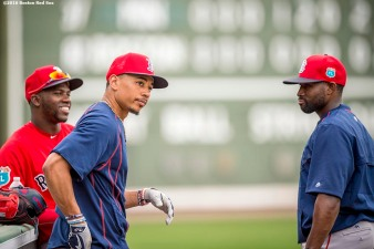 FT. MYERS, FL - MARCH 3: Rusney Castillo #38, Mookie Betts #50 and Jackie Bradley Jr. #25 of the Boston Red Sox look on during a team workout on March 3, 2016 at Fenway South in Fort Myers, Florida . (Photo by Billie Weiss/Boston Red Sox/Getty Images) *** Local Caption *** Jackie Bradley Jr.; Mookie Betts; Rusney Castillo