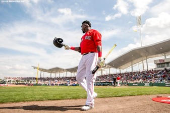 FT. MYERS, FL - MARCH 4: David Ortiz #34 of the Boston Red Sox walks toward the dugout during a Grapefruit League game against the Tampa Bay Rays on March 4, 2016 at JetBlue Park at Fenway South in Fort Myers, Florida . (Photo by Billie Weiss/Boston Red Sox/Getty Images) *** Local Caption *** David Ortiz