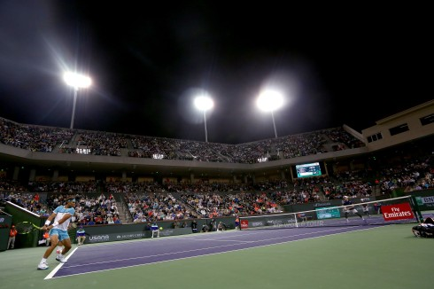 """Stadium two is shown during a doubles match between Bob and Mike Bryan and Frenando Verdasco and Rafael Nadal during the 2016 BNP Paribas Open at the Indian Wells Tennis Garden in Indian Wells, California Saturday, March 12, 2016."""