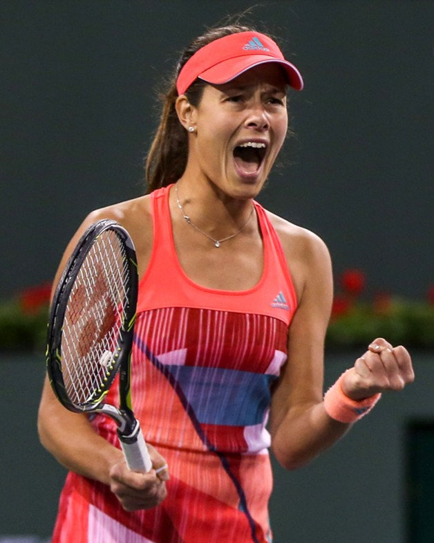 """Ana Ivanovic reacts after defeating Camila Giorgi during the 2016 BNP Paribas Open at the Indian Wells Tennis Garden in Indian Wells, California Saturday, March 12, 2016."""