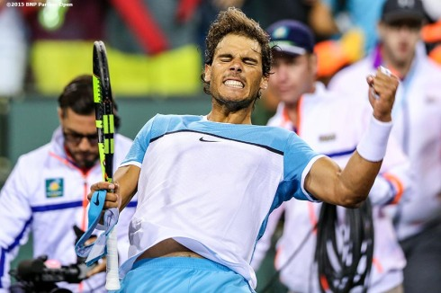 """Rafael Nadal reacts after defeating Gilles Muller during the 2016 BNP Paribas Open at the Indian Wells Tennis Garden in Indian Wells, California Sunday, March 13, 2016."""