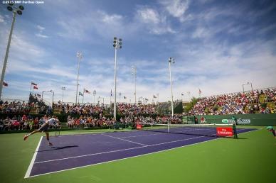 """Sam Querrey in action against Thiemo De Bakker during the 2016 BNP Paribas Open at the Indian Wells Tennis Garden in Indian Wells, California Sunday, March 13, 2016."""