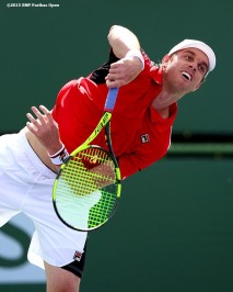 """Sam Querrey in action against Thiemo De Bakker during the 2016 BNP Paribas Open at the Indian Wells Tennis Garden in Indian Wells, California Sunday, March 13, 2016."""
