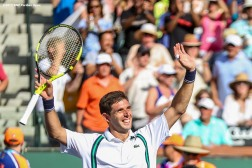 """Federico Delbonis reacts after defeating Andy Murray during the 2016 BNP Paribas Open at the Indian Wells Tennis Garden in Indian Wells, California Monday, March 14, 2016."""