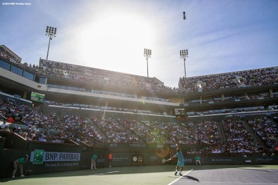 """""""Rafael Nadal in action during a match against Fernando Verdasco during the 2016 BNP Paribas Open at the Indian Wells Tennis Garden in Indian Wells, California Tuesday, March 15, 2016."""""""
