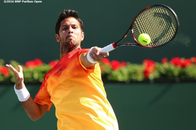 """Fernando Verdasco in action against Rafael Nadal during the 2016 BNP Paribas Open at the Indian Wells Tennis Garden in Indian Wells, California Tuesday, March 15, 2016."""