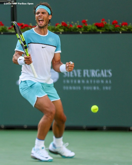 """Rafael Nadal reacts after defeating Fernando Verdasco during the 2016 BNP Paribas Open at the Indian Wells Tennis Garden in Indian Wells, California Tuesday, March 15, 2016."""