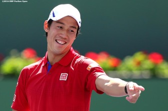 """""""Kei Nishikori in action against Steve Johnson during the 2016 BNP Paribas Open at the Indian Wells Tennis Garden in Indian Wells, California Tuesday, March 15, 2016."""""""