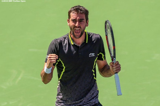 """Marin Cilic reacts after defeating Richard Gasquet during the 2016 BNP Paribas Open at the Indian Wells Tennis Garden in Indian Wells, California Wednesday, March 16, 2016."""