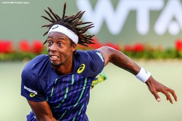 """Gael Monfils in action against Federico Delbonis during the 2016 BNP Paribas Open at the Indian Wells Tennis Garden in Indian Wells, California Wednesday, March 16, 2016."""