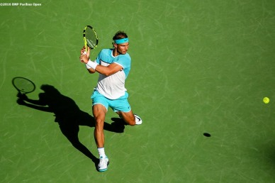 """Rafael Nadal in action against Alexander Zverev during the 2016 BNP Paribas Open at the Indian Wells Tennis Garden in Indian Wells, California Wednesday, March 16, 2016."""