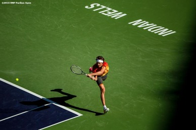 """""""Alexander Zverev in action against Rafael Nadal during the 2016 BNP Paribas Open at the Indian Wells Tennis Garden in Indian Wells, California Wednesday, March 16, 2016."""""""