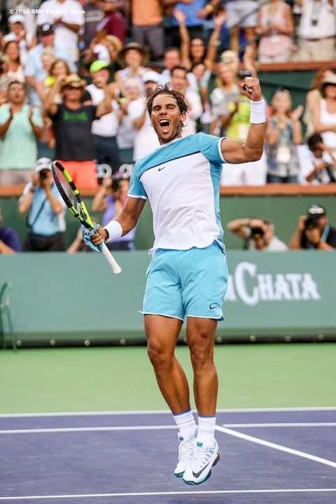 """Rafael Nadal reacts after defeating Alexander Zverev during the 2016 BNP Paribas Open at the Indian Wells Tennis Garden in Indian Wells, California Wednesday, March 16, 2016."""