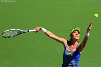 """Agnieszka Radwanska in action against Petra Kvitova during the 2016 BNP Paribas Open at the Indian Wells Tennis Garden in Indian Wells, California Wednesday, March 16, 2016."""