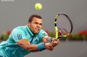 """Jo-Wilfried Tsonga in action against Dominic Thiem during the 2016 BNP Paribas Open at the Indian Wells Tennis Garden in Indian Wells, California Wednesday, March 16, 2016."""